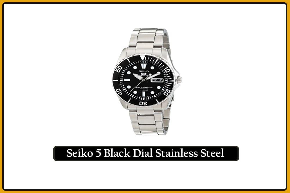 Seiko 5 Black Dial Stainless Steel