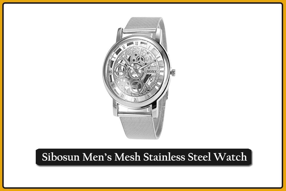 Sibosun Men's Mesh Stainless Steel Watch