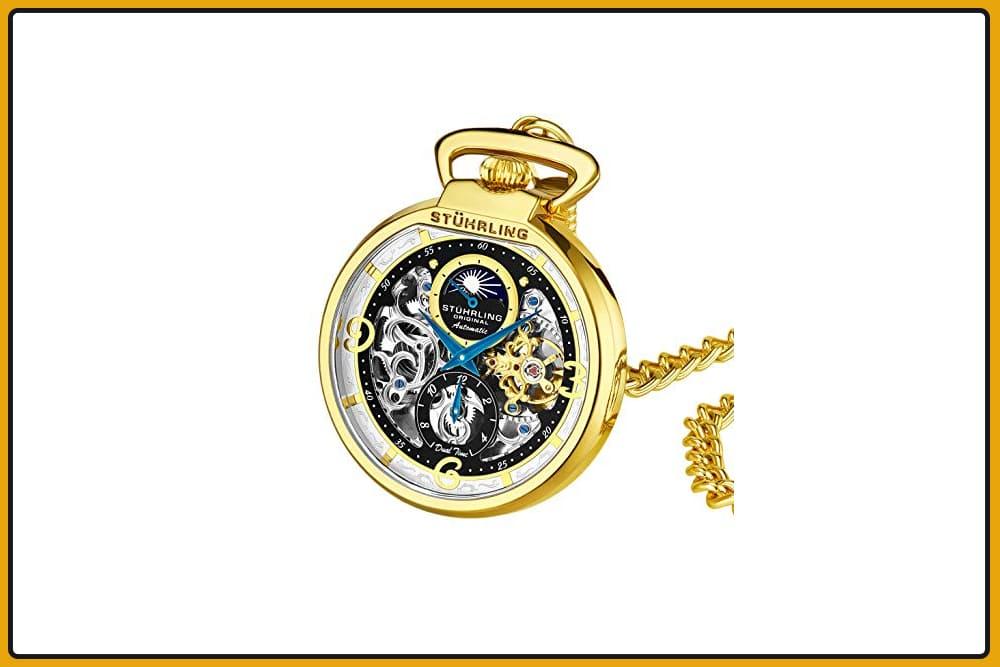 Stuhrling Orignal Automatic Skeleton Pocket Watch